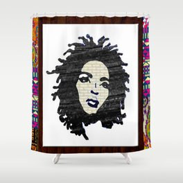 Lauryn Hill vintage fabric & wood grain patterned collage Shower Curtain