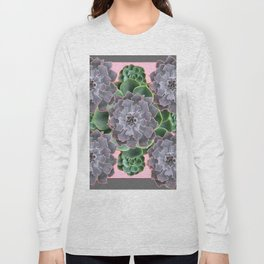 ORNATE JADE & GREEN SUCCULENT PINK   GARDEN Long Sleeve T-shirt