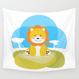 Lion in the savannah Wall Tapestry