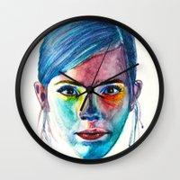 emma watson Wall Clocks featuring Emma Watson by Stella Joy