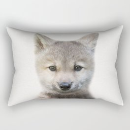 Baby Wolf, Baby Animals Art Print By Synplus Rectangular Pillow