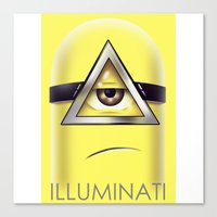 minions Canvas Prints featuring Minions Illuminati by Vincent Trinidad