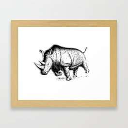 Running Rhino Framed Art Print