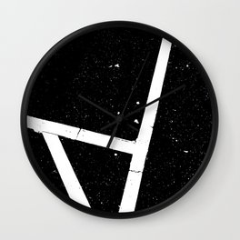 black and white grunge road marking Wall Clock