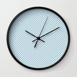 Crystal Blue and White Polka Dots Wall Clock