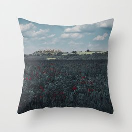 Red flowers in tuscany Throw Pillow