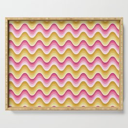Bargello waves golden yellow pink Serving Tray