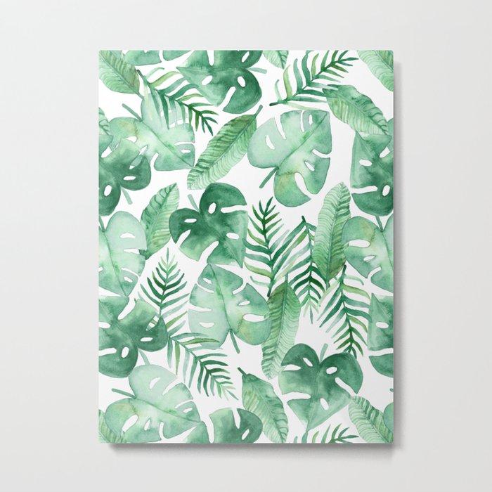 Tropical Jungle on White Metal Print
