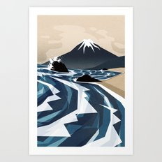Breaking the waves Art Print