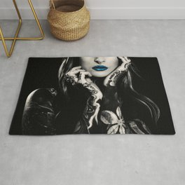 Girl with flowers tattoo Rug