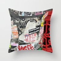 stickers Throw Pillows featuring Stickers by Kirstie Battson
