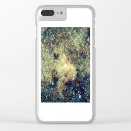 Galaxy Gold & Blue Stars Clear iPhone Case