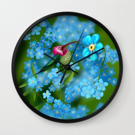 Clown hummingbird and forget me not flowers Wall Clock