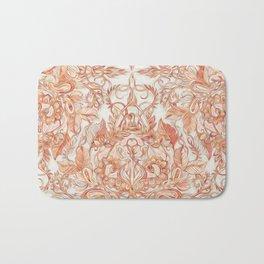 Autumn Peach Art Nouveau Pattern Bath Mat