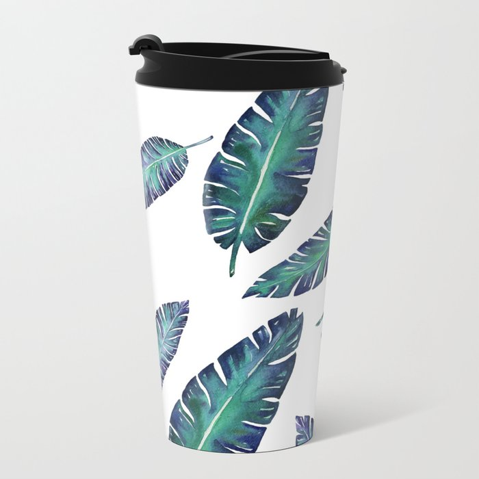 Watercolor garden leaves Metal Travel Mug