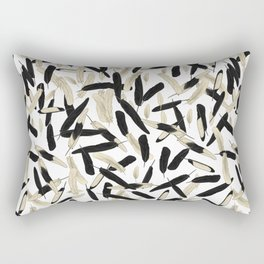 Black and White Feather Repeating Pattern Rectangular Pillow