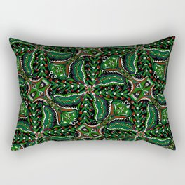 Bohemian Folkart Floral - Christmas Foliage Floral, Traditional Green & Red Pattern with Folklore Fe Rectangular Pillow
