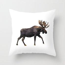 Polygon geometric Moose Throw Pillow