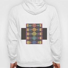 Abstract Geometric Zentangle Drawing with Rainbow Symbols Hoody