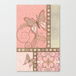 Butterfly Scroll Damask Lace Swirl Polka Dot Modern Pattern Watercolor Art Canvas Print