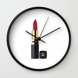 Fashion wall art,fashion illustration,chanel print, fashion print, fashion art, lipstick poster, c Wall Clock