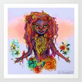 Flower Power Girl Art Print