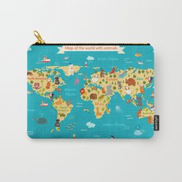 Animals world map. Vector illustration Carry-All Pouch