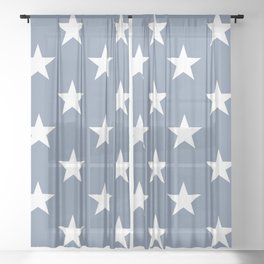 White stars on blue background. From the collection - Hello America. Sheer Curtain