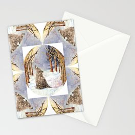 Wolf Oval Pattern Stationery Cards