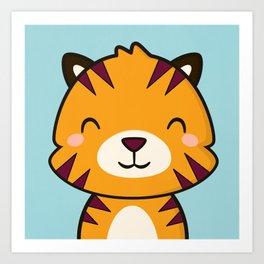 Kawaii Cute Tiger Art Print