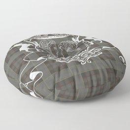 Outlander plaid with Je Suis Prest crest Floor Pillow