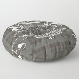 Outlander plaid with Je Suis Prest crest Floor Pillow