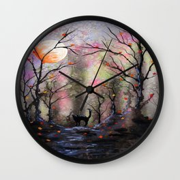 Moonlit forest Wall Clock