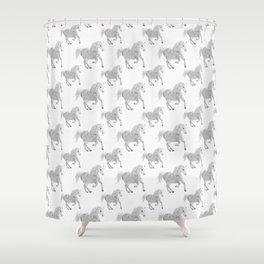 White Horse Pattern Shower Curtain