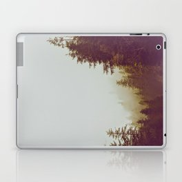 Olive Green Sepia Misty Pine Forest Landscape Photography Parallax Trees Laptop & iPad Skin
