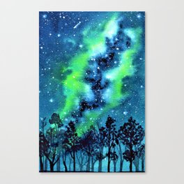 Green and Blue galaxy watercolor painting Canvas Print
