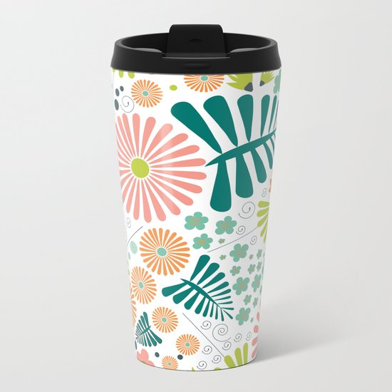 Whimsical flowers Metal Travel Mug