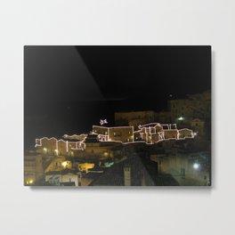 matera by night, nativity scene Metal Print