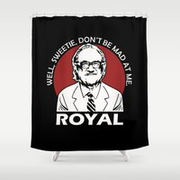 tenenbaum Shower Curtains featuring Royal Tenenbaum quotes by Buby87