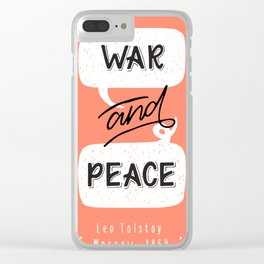 War and Peace hand lettering Clear iPhone Case