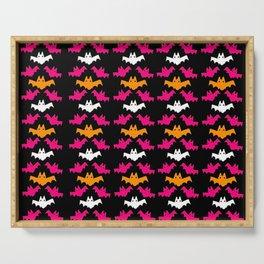 Orange, Pink, and White Halloween Bat Pattern Serving Tray