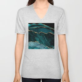 Teal, Gold, and Crushed Jade Agate Marble Design Unisex V-Neck