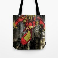 iron maiden Tote Bags featuring iRon by wOlly