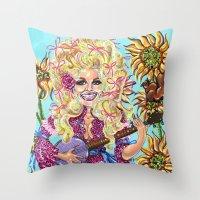 dolly parton Throw Pillows featuring Dolly Parton. by Eliza Brown Art
