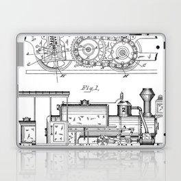 Steam Train Patent - Steam Locomotive Art - Black And White Laptop & iPad Skin
