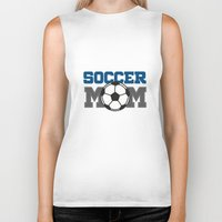 soccer Biker Tanks featuring soccer mom by Tassara