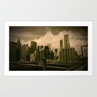 manhattan Art Prints featuring Manhattan  by metalmind