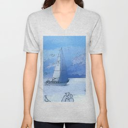 Sailing the Calm Blue Waters  - Sailboating Unisex V-Neck