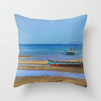 philippines Throw Pillows featuring Philippines beach by Maria Zborovska