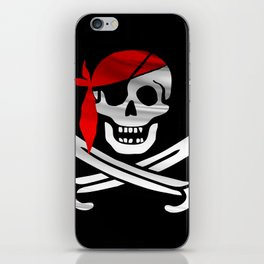 Jolly Roger pirate waving flag with skull and swords with red bandana on a silk drape  iPhone Skin